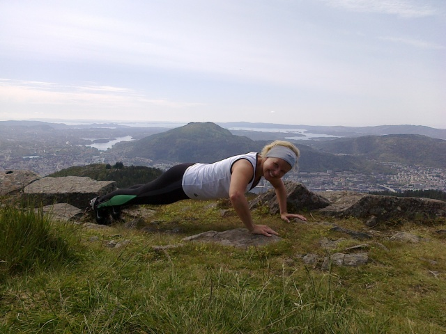 Old picture, same exercise. You can do the push up wherever you are, even on top of a mountain in Bergen, Norway :)
